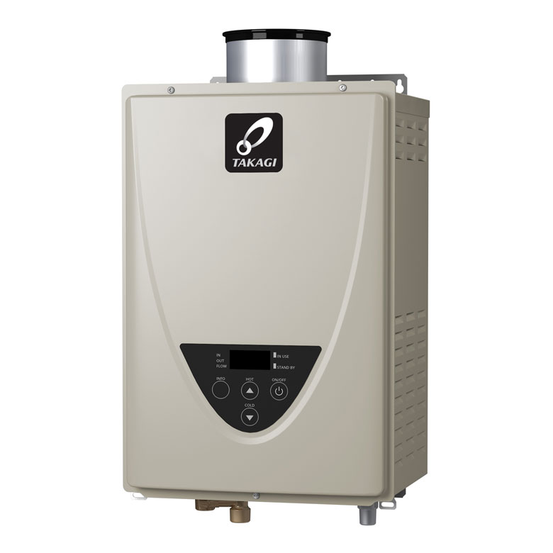 Takagi tankless water heaters provide a constant supply of hot water.